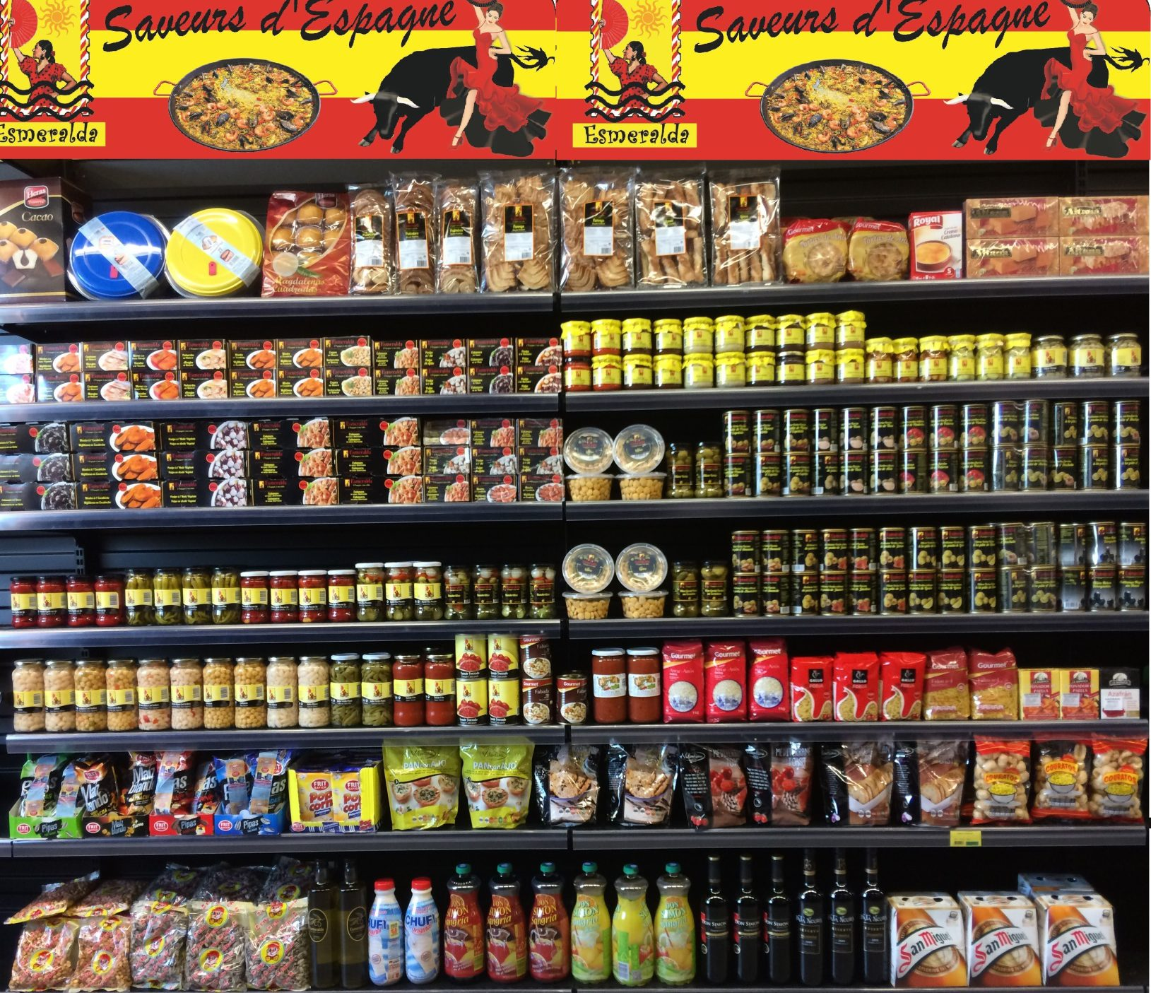 Des produits espagnol en rayon de magasin